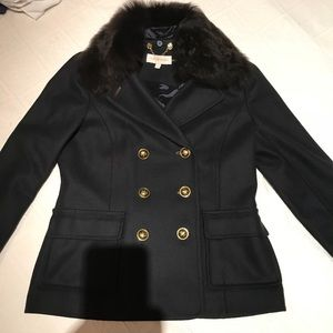 Tory Burch 6 Navy wool fur collar Alexandre jacket